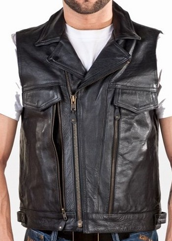 Mens Leather Vest With Over 10 Pockets