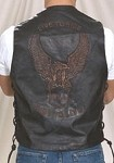 Mens Live To Ride Embossed Eagle Brown Leather Vest