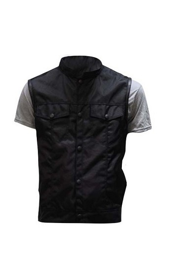 Mens Black Textile Motorcycle Vest with Gun Pockets