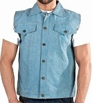 Mens Genuine Leather Vest with Denim Look