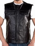 Mens Leather Motorcycle Vest With No Collar
