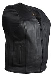 Classic Leather Motorcycle Vest With Gun Pockets