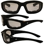 Foam Padded Biker Sunglasses Clear Lenses