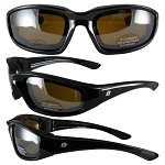 Foam Padded Biker Sunglasses Brown Mirror Lenses
