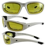 Motorcycle Sunglasses White Frame Yellow Lenses