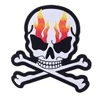 Flaming Skull Crossbones Motorcycle Jacket Patch