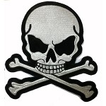 Silver Skull and Crossbones Motorcycle Jacket Patch