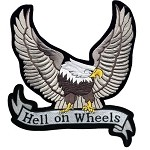 Silver Eagle Hell on Wheels Motorcycle Jacket Patch