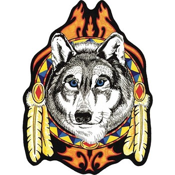 Wolf Head with Feathers Motorcycle Jacket Patch