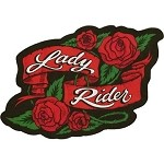 Lady Rider Red Roses Motorcycle Jacket Patch