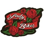 Lady Biker Red Roses Motorcycle Jacket Patch