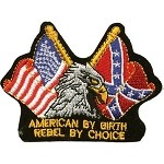 Eagle with US and Confederate Flag Motorcycle Jacket Patch