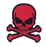 Small Red Skull Crossbones Motorcycle Jacket Patch