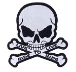 Small Live to Ride Skull Motorcycle Jacket Patch