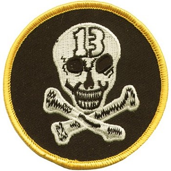 Small 13 Skull and Crossbones Motorcycle Jacket Patch