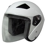 White DOT Open Face Motorcycle Helmet with Flip Shield