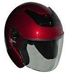DOT Red Open Face Motorcycle Helmet with Flip Shield