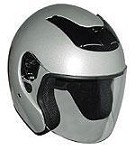 DOT Silver Open Face Motorcycle Helmet with Flip Shield