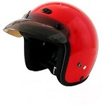 DOT Red 3/4 Open Face Motorcycle Helmet with Visor