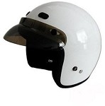 DOT White 3/4 Open Face Motorcycle Helmet with Visor