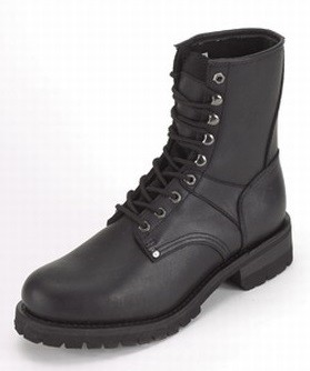 Women's Leather Motorcycle Boots with Front Laces