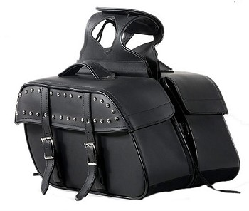 Studded Zip-Off Motorcycle Saddlebags with Handle