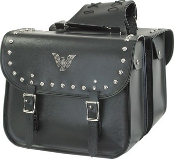 Motorcycle Saddlebags with Eagle Emblem and Studs