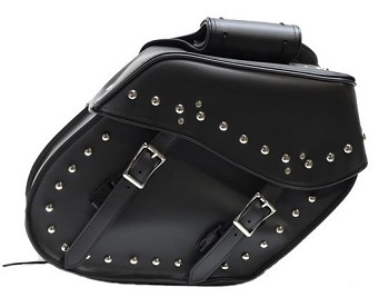 Slanted PVC Motorcycle Saddlebags With Studs