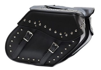 Motorcycle Saddlebags With Studs Zip-Off Bags