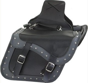 Motorcycle Saddlebags, Chrome Plated, Studs, Braided