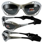 Motorcycle Sunglasses Silver Frame with Strap