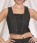 Womens Black Leather Halter Top With Lace-Up Front