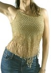 Womens Medium Length Beige Halter Top With Studs