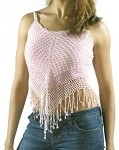 Womens Medium Length Pink Halter Top With Studs