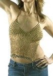Womens Brown Halter Top With Studs and Fringe