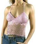 Womens Pink Halter Top With Studs and Fringe