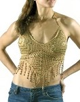 Womens Brown Halter Top With Studs