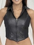 Womens Leather Halter Top With Collar and Braid