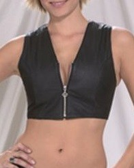 Womens Leather Tank Top With Zipper On Front