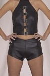 Womens Leather Shorts With Side Buckles