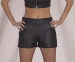 Women Leather Shorts With Braid On Top