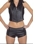 Womens Leather Shorts With Studs & Side Buckles