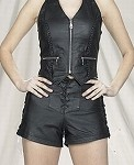 Womens Leather Halter Top With Braid and Zippers