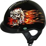 DOT Flaming Skull Black Motorcycle Half Helmet