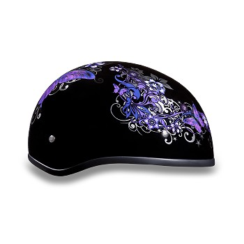 DOT Purple Butterfly Motorcycle Half Helmet
