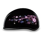 DOT Women's Motorcycle Half Helmet with Flowers