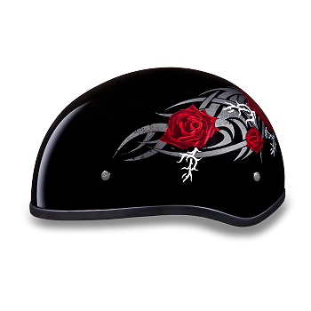 DOT Motorcycle Half Helmet With Red Roses
