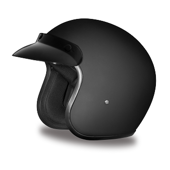 DOT Flat Black 3/4 Open Face Motorcycle Helmet