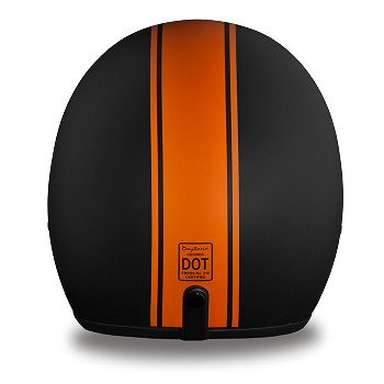 DOT Orange Stripe 3/4 Open Face Motorcycle Helmet