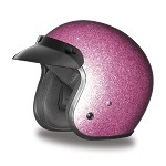 DOT Pink Metal Flake 3/4 Open Face Motorcycle Helmet